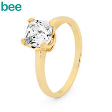 Simulated Diamond 9k 9ct Solid Yellow Gold Solitaire Ring Size P 7.75 24931