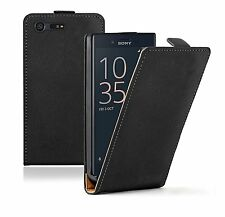 SLIM BLACK Leather Flip Case Cover Pouch For Sony Xperia X Compact +2 FILMS