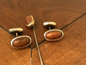 Antique Brown Agate yellow gold filled cufflinks and matching G.F. stick pin