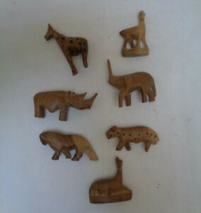 Vintage Collectable African Hand carved wood animal figures -set of 7