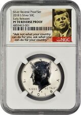 2018 S Silver Kennedy Half Dollar REVERSE PROOF Early Releases NGC PF70 (POR)