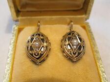 PAAR Biedermeier Ohrringe Ohrschmuck GOLD 585 2 Perlchen 2 Diamantrosen Email
