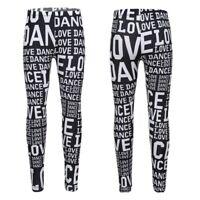 Fille Leggings Pantalons 'LOVE DANCE' Collants Enfant Taille élastique 5-14 Ans