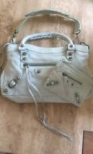 Gorgeous Genuine Distressed Leather Mini City Bag In Pale Blue