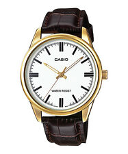 Casio Men's Brown Leather Strap Watch, White Dial,   MTP-V005GL-7A