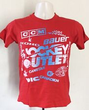 Vtg 80s Early 90s Hockey Outlet T-Shirt Red Boys Youth 14-16 Screen Stars CCM