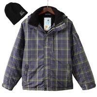 New ZeroXposur Men's Gray Plaid Comfort Warmth Performance Ski Snowboard Jacket