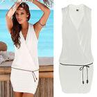 blanc robe femmes soirée cocktail été mini combinaison robe de soleil