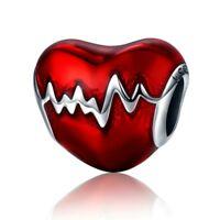 Love Heart Red Enamel Charm 100% 925 Sterling Silver Pandora Love Heart ECG