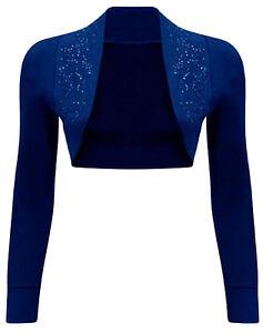 New Womens Plus size Sequin Beaded Bolero Shrug Cardigan Tops 8-26