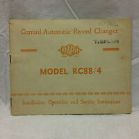 Vintage Garrard Automatic Record Charger Model RC88/4 Instructions