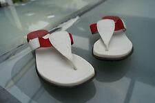 Gant verano zapatos sandalias tira dedo Clogs talla 7/40,5 41 cuero blanco rojo #63