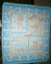 "Precious Moments Baby Fabric Panel Quilt Top "" all Aboard"" size 35 x 44 searged"