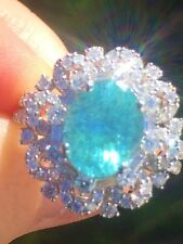 18K GOLD 6.12 CT. GIA CERTIFIED UNHEATED BLUE PARAIBA TOURMALINE DIAMOND RING!!