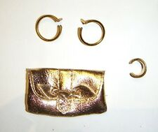 Barbie Doll Sized Golden Purse/Earrings For Dolls ac01