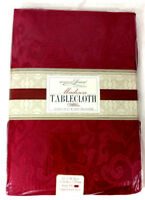 Kitchen Tablecloth Burgundy Red Luxury 52 x 70 Scroll Pattern Fabric Rectangle
