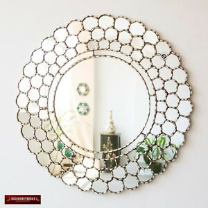 "Large Silver Round Wall Mirror 31.5"" from Peru, Silver leaf wood framed mirror"