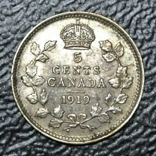 OLD CANADIAN COIN 1919 - 5 CENTS - .925 SILVER - George V - WWI era - Nice Coin