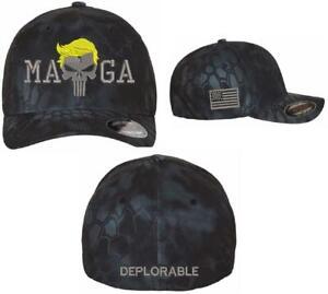 Trump Maga Punisher Flex Fit Kryptek Typhoon Hat with Deplorable back and Flag
