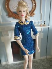 "Blue Sequin Dress w/ Yellow Satin - fit most 16"" Fashion Dolls including DeMuse"