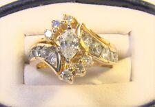 Beautiful 14 K Gold Marquis Diamond Bypass Vintage Wedding Ring Set Sz 5 .75 CTW