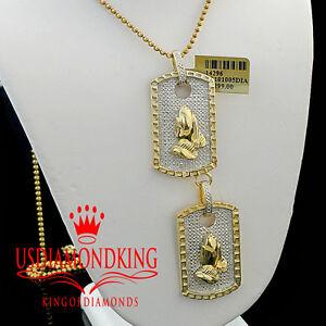 Real Diamonds Mens Double Dog Tag Custom Pendant Praying Hands 14K Gold Finish