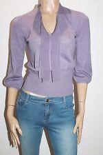 DAVID LAWRENCE Designer Purple Wool Knitwear 3/4 Sleeve Top Size XS #SJ09