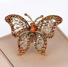 Crystal Insect Pin For Lady Gift Hollow Butterfly Brooch Brooches Gold Plated
