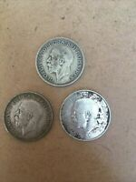 3 X George V Shilling Coins 1923 - 1936