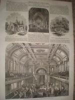 New Jewish synagogue Walworth Road London 1867 old print ref Y4