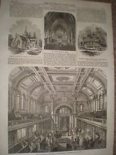 New Jewish synagogue Walworth Road London 1867 old print ref Y4