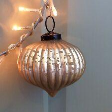 Mate Dorado Mercury cristal estriado Cebolla bola, Decoración Árbol Navidad