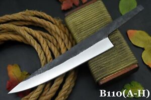 Custom Hammered Spring Steel 5160 Blank Blade Chef Knife, No Damascus (B110-A)