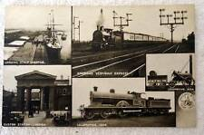 POSTCARD MULTI VIEWS RAILROAD TRAIN DEPOT STATION LOCOMOTIVE ENGLAND #W9S