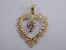 PINK TOPAZ 14K GOLD HEART PENDANT FANCY FILIGREE DIAMOND CUT MULTI TEXTURE