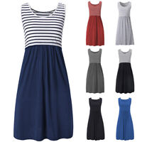 Pregnant Womens Maternity Stripe Breastfeeding Nursing Summer Tunic Shorts Dress