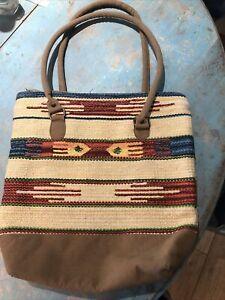 12b Sundance Catalog Pine Creek Serape Southwestern Pattetn Woven Bag