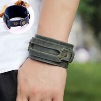 Leather Adjustable Cuff Bracelet Braided Wristband Fashion Mens Punk Wide Bangle