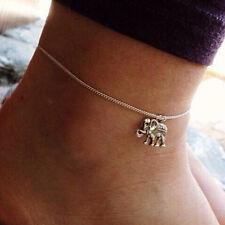 Silver anklet bracelet charm elephant pendant leg chain women foot jewelry