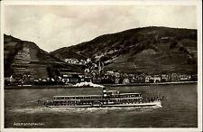 Assmannshausen am Rhein alte Postkarte und Stempel 1932 Gesamtansicht mit Schiff