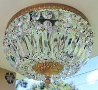 """Antique/Vtg 14"""" ITALY Flush Mount Crystal Brass 3Light Chandelier BREAKERS HOTEL"""
