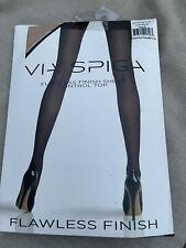 NIP Via Spiga Flawless Finish Sheer Control Top Stockings Nude Size E NEW