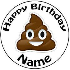 """Personalizzato Compleanno Cacca Emoji ROUND 8"""" facile PRETAGLIATO GLASSA cake topper"""
