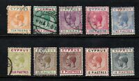 Cyprus stamps #61 - 70,  mint & used, wmk. 3, 1912, SCV $144.15