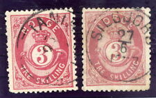 NORWAY 1871 Posthorn 3 Sk. two shades, fine used.