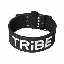 "TRIBE Small Weight Lifting  Leather Belt Suede Black - 4"" - 10mm thick"