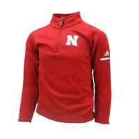 Nebraska Cornhuskers NCAA Adidas Youth Kids Size Quarter Zip Warm Up Pull Over
