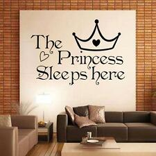 The Princess Sleeps Here Family DIY Removable Art Quote Wall Stickers Decal J