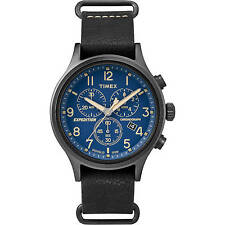 Timex Men's Expedition Scout Chrono Watch, Black Leather Slip-Thru Strap