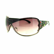 Womens Oversized Rimless Shield Sunglasses Rose Rhinestone Black
